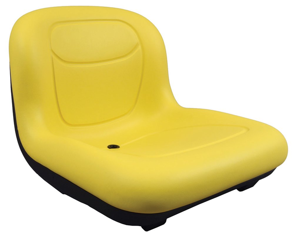 "Stens 420-182 High Back Seat, Used with John Deere Mowers and Tractors, Waterproof Vinyl, Central Drain, 15-1/2"" x 18"" x 21-11/16"", Yellow"