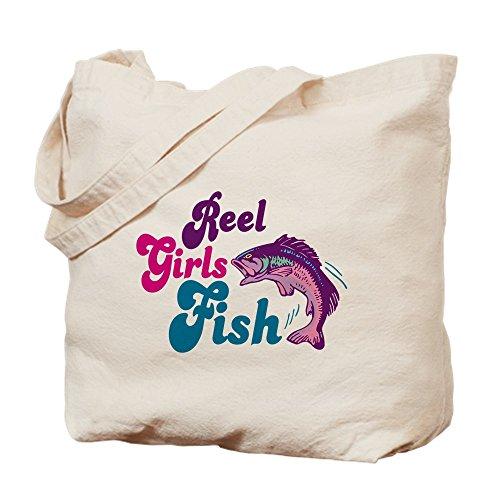 (CafePress Reel Girls Fish Natural Canvas Tote Bag, Cloth Shopping Bag)