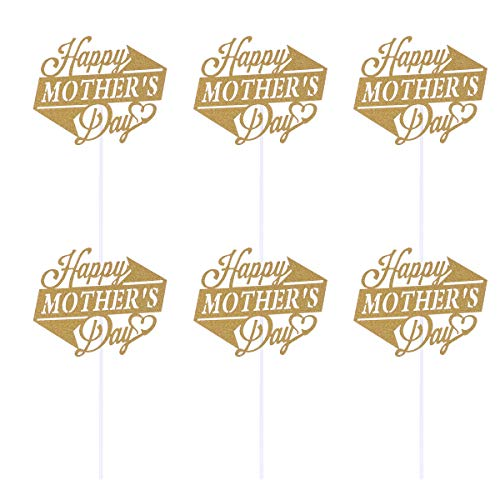 Amosfun 10pcs Happy Mothers Day Cake Toppers Golden Glitter Cupcake Picks Cake Decoration Party Supplies