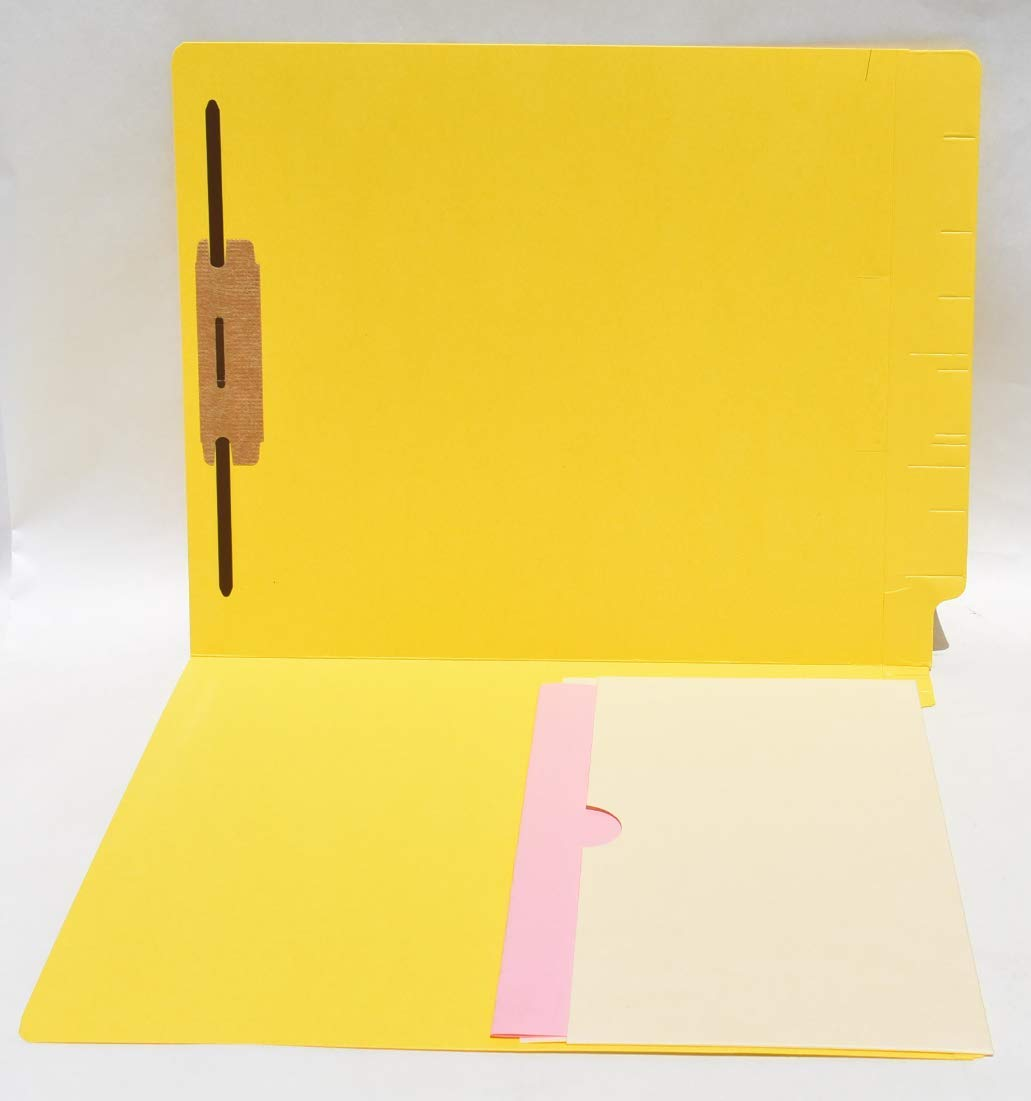 Pocket Folder, Letter Size W/Reinforced END TAB, 11 PT, 5'' deep, Single Manila Pocket ON Left, Bonded Fastener On Right, Box of 50 (Yellow 14 PT) by Coastal Office Systems