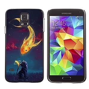 QCASE / Samsung Galaxy S5 SM-G900 / peces de oro mágico momento gato dibujo del arte del reloj / Delgado Negro Plástico caso cubierta Shell Armor Funda Case Cover