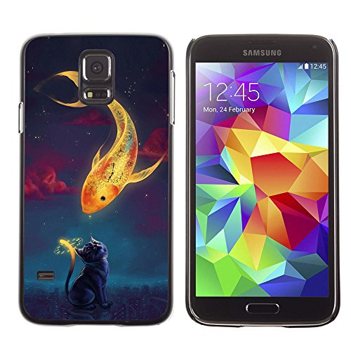 amsung Galaxy S5 magical gold fish cat time clock art drawing / Slim Black Plastic Case Cover Shell Armor