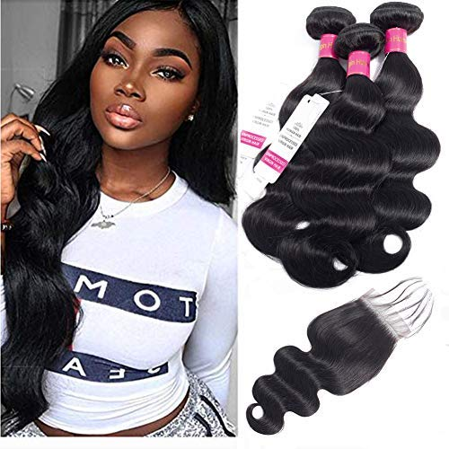 Indian Hair Body Wave Human Hair Bundles With Closure, 9A 100% Unprocessed Virgin Hair Body Wave With Closure, Human Hair Body wave, 3 Bundles With Closure (18 20 22 +16 Closure)