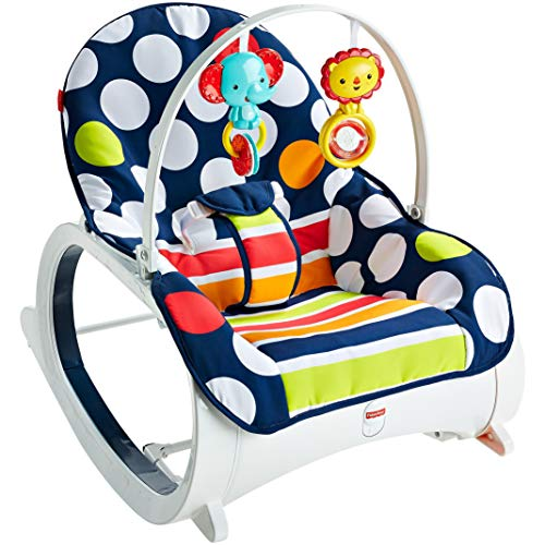 Fisher-Price Fisher-Price Infant-to-Toddler Rocker, Navy Dot