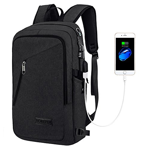 Yorepek Slim Laptop Backpack, Business Computer Backpack w/USB Charging Port New