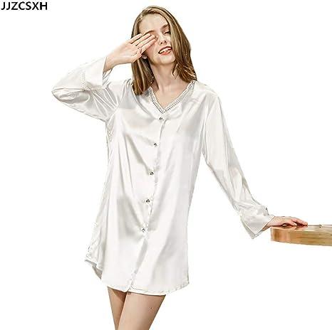 JJZCSXH Ropa de Dormir de Mujer Camisa de Manga Larga camisón Pijama Lencería Ropa de Dormir Pijama Suelta Pijama Femenina Ropa de Dormir,White,M: Amazon.es: Deportes y aire libre