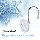 AGPTEK 12 PCS Anti-Rust Decorative Shower Curtain Hooks for Home, Bathroom, Bedroom, Baby Room, Living Room & More -Snow/Snowflake - Light Grey