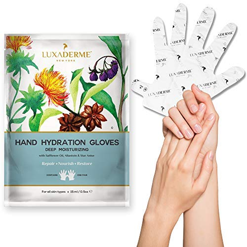 LuxaDerme Deep Moisturizing Hand Hydration Gloves with Safflower Oil, Allantoin and Star Anise, 15ml
