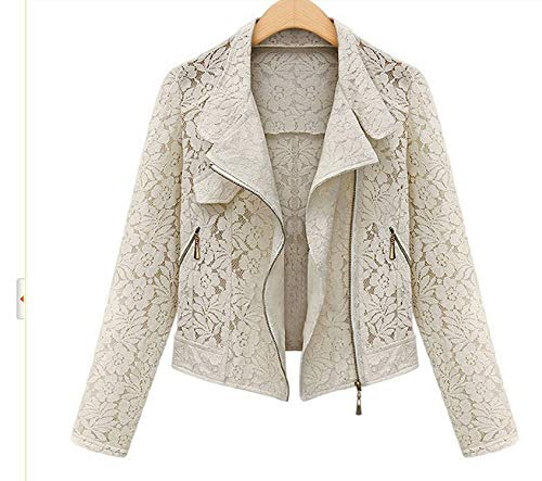 Image Jacket Zipper Lace Jacket Comradesn Autumn Full Casual Jacket Lace Metal Leisure Brand Color Short Biker Outwear SqSURZ