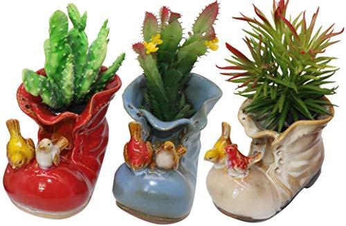 Decorative Cute Indoor Ceramic Flower Pot Succulent Planter 4 Inch with Drainage Three Piece Set Vintage Animal Birds Design Shoes Planters Shoes Gnome Home and Garden Décor ()