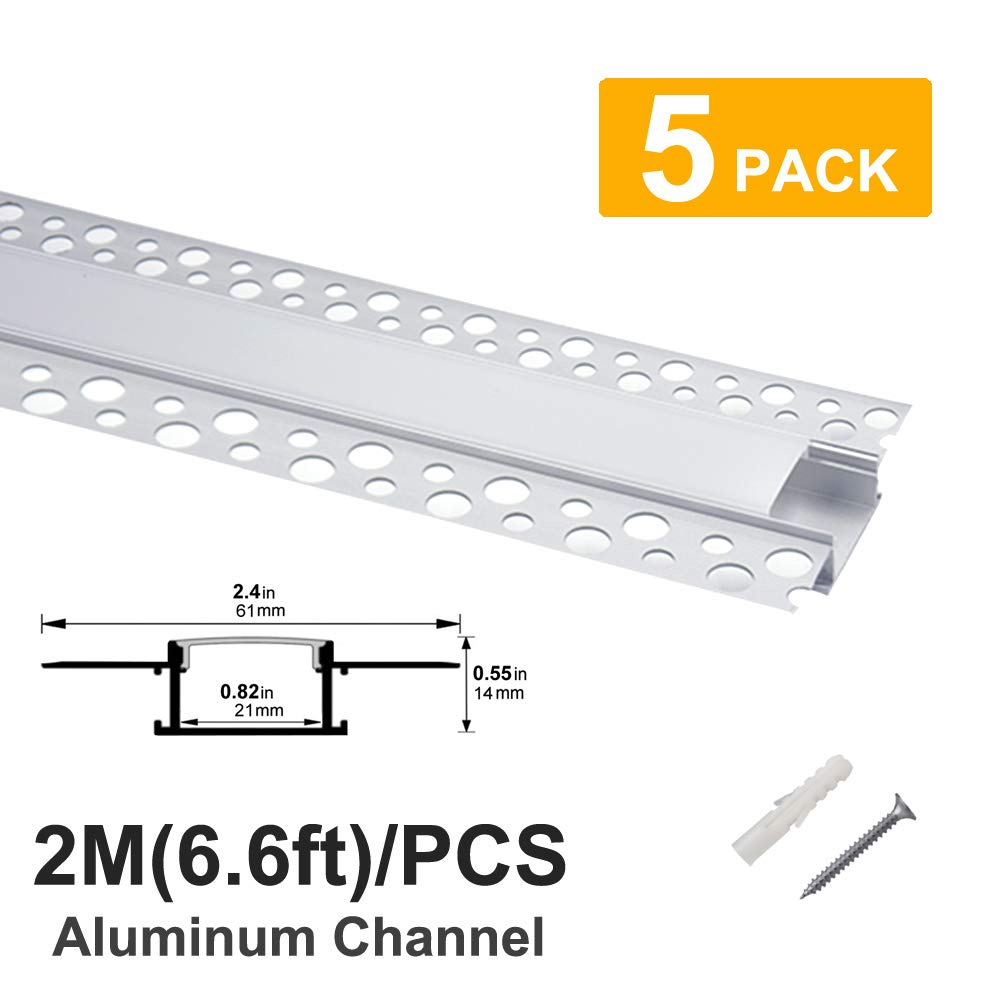 Hunhun 5-Pack 6.6ft/2Meter Plaster-in, trimless recessed LED Aluminum Channel with Flange for LED Strip, led channel with Clip-in Diffuser and,for wider strip such as Philips Hue (5pack6.6ft)