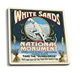 White Sands National Monument, New Mexico - Lizard Vintage Sign (Set of 4 Ceramic Coasters - Cork-backed, Absorbent)