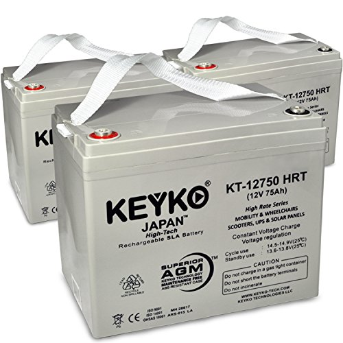 Power Patrol SLA1175 12V 75Ah SLA Sealed Lead Acid HIGH RATE Deep Cycle Battery for UPS Wheelchair Scooter and Mobility Genuine KEYKO - T1 Terminal- 3 Pack by KEYKO