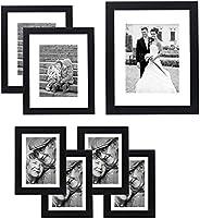 Americanflat Conjunto de parede de galeria de 7 unidades | Exibe uma foto de 28 x 35 cm, duas fotos de 20 x 25