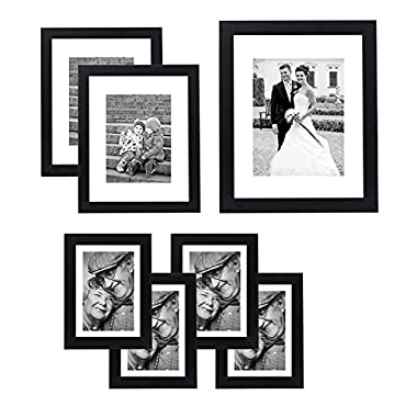 7 Pack Gallery Wall Set - Includes: 11x14 Inch with 8x10 inch matte opening, Two 8x10 inch with 5x7 matte openings, Four 5x7 inch with 4x6 inch matte opening