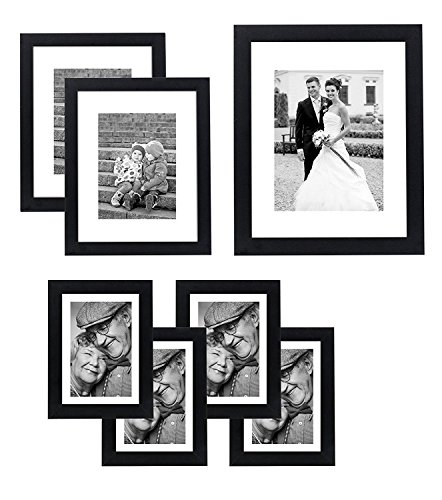 Americanflat 7 Pack Gallery Wall Set - Includes: One 11x14 Frame, Two 8x10 Frames, and Four 5x7 Frames