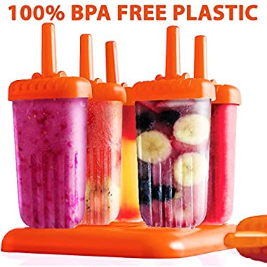 BPA FREE-Ice Pop Molds by Top Choice-Set of 6 Popsicle Molds (Orange)-Now You Can Make Your Own Homemade Popsicles With The Best Ice Pop Maker On Amazon