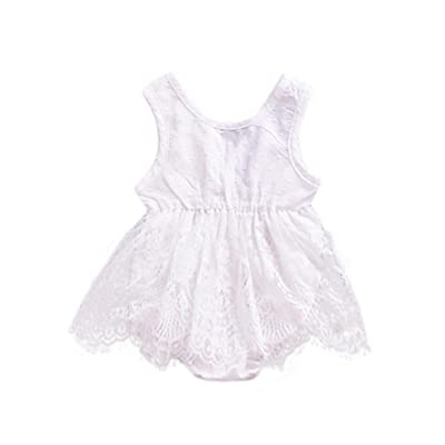 Dressffe Baby Girl Romper Dress,Solid Lace Dress Floral Romper Dress