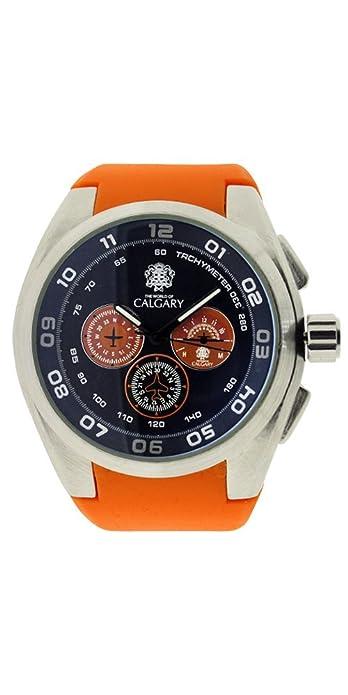 Relojes Calgary Oakland Mountain. Reloj Deportivo para Hombre, Correa Naranja, Esfera Color Azul: Amazon.es: Zapatos y complementos