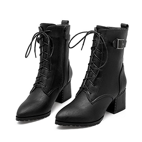 AllhqFashion Womens Kitten Heels Solid Pointed Closed Toe Lace Up Boots, Black, 44