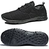 NeedBo NDB Men's Mesh Slip On Quick Drying Aqua Water Shoes Breathable Lightweight Fashion Walking Shoes (10.5 D(M) US, All Black)
