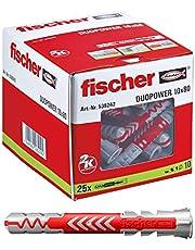 fischer 538242 universele pluggen DuoPower 10 x 80 LD, voor bevestigingen in beton, metselwerk en geperforeerde steen, 25 stuks
