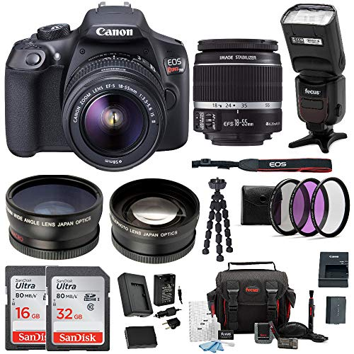 Canon EOS Rebel T6 Digital Camera: 18 Megapixel 1080p HD Video DSLR Bundle with 18-55mm Lens TTL Flash 48GB SD Card Mini Tripod Filter Kit & Charger - Professional Vlogging Sports & Action Cameras
