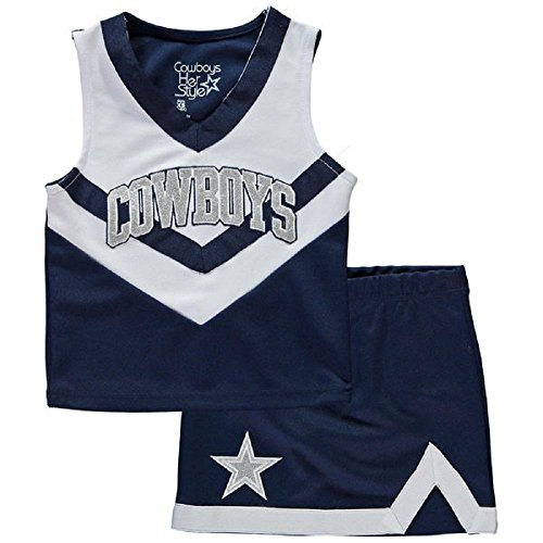 Licensed Sports Apparel Dallas Football Cowboys Youth Girls Navy Blue/White High Victory Cheer Set - M - Dallas Cowboys Kids Apparel