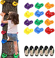 Barbella 12 Ninja Tree Climbing Holds for Kids Climber, Adult Climbing Rocks with 6 Ratchet Straps for Outdoor