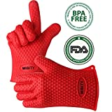 Mibity Heat Resistant Silicone BBQ Gloves – Fantastic Cooking Gloves and Grilling Gloves for Smoking,Baking & Oven Use – Waterproof and Protection – Red Review