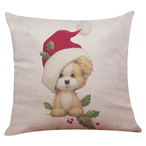 Challyhope Christmas Friendly Cute Dogs and Cats Cotton Linen Pillow Case Sofa Cushion Cover Home Decor New 2017 (45 X 45cm, Multicolor E)