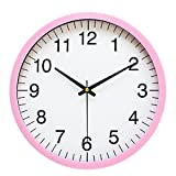 FortuneVin Wall Clock Silent Movement Wall Clock Home Office Decor For Living Room Bedroom And Kitchen Clock Wall 10 In Mute Digital Clock Table Tables001Black-Pink Plastic Box10 India .25Cm,10 Ind.