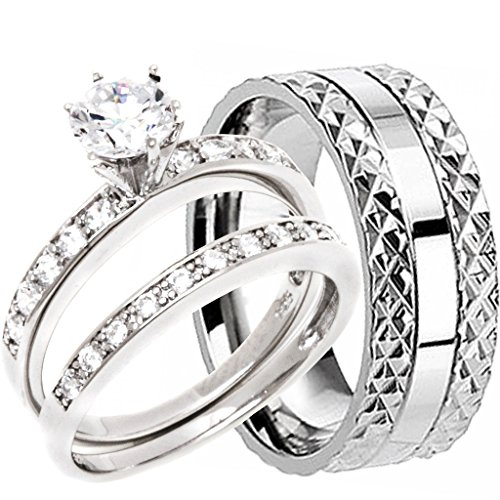 (NYCJewelrydesign 3 Pieces Men's and Women's, His & Hers, 925 Genuine Solid Sterling Silver & Pyramid Edge Solid Titanium Band Engagement Matching Wedding Ring Set)