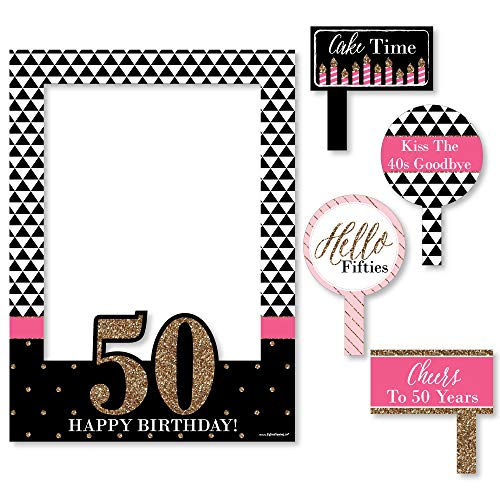 Big Dot of Happiness Chic 50th Birthday - Pink, Black and Gold - Birthday Party Selfie Photo Booth Picture Frame & Props - Printed on Sturdy Material