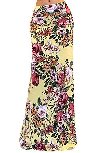 Vivicastle Women's Colorful Printed Fold Over Waist Long Maxi Skirt (Medium, (Printed Maxi Skirt)