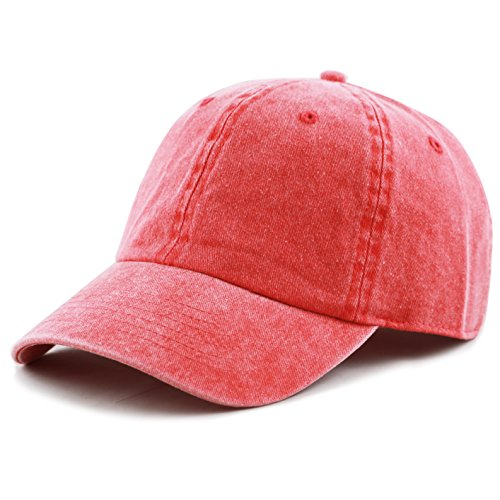 THE HAT DEPOT 100% Cotton Pigment Dyed Low Profile Six Panel Cap Hat (Red)