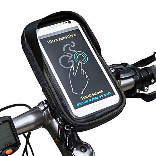 Recumbent Bicycle Wheels (Cycling Top Tube Bag WHEEL UP Phone Mount Holder Bicycle Bag TPU Touch Screen Waterproof 360 Degree Rotation Front Frame Bags(BLACK))