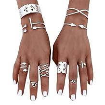 KMG Kimloog Clearance! 6Pcs Stackable Plain Knuckle Rings Midi Finger Tip Ring Set for Womrn Girl