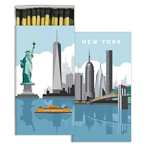 (HomArt Large Decorative New York Candle and Fireplace Wood Matches)