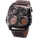 OULM Men Sports Military Outdoor Quartz Wristwatch Leather Strap Dual Time Zones Display Square Case Compass Thermometer + BOX