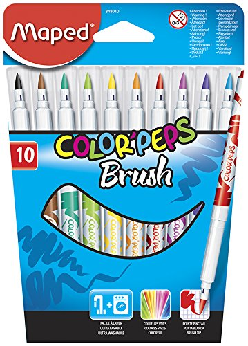 Maped Color'Peps Brush Tip Ultrawashable Markers, Assorted..