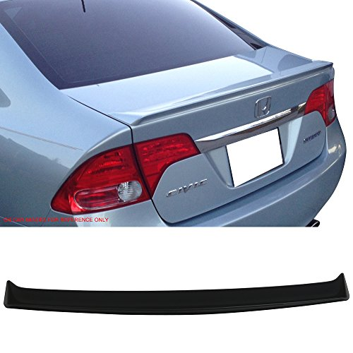 - Trunk Spoiler Fits 2006-2011 Honda Civic 8th | Performance Style Unpainted Raw Material Black ABS Rear Tail Lip Deck Boot Wing by IKON MOTORSPORTS | 2007 2008 2009 2010
