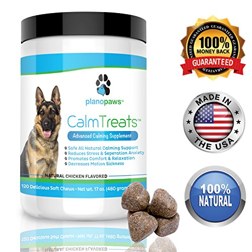 - Calm Treats, Safe, Natural Calming Treats for Dogs, Dog Anxiety Relief, Helps With Separation Anxiety, Motion Sickness, Storms, Fireworks. Natural Stress Relief for Dogs, Made in USA, 120 Soft Chews