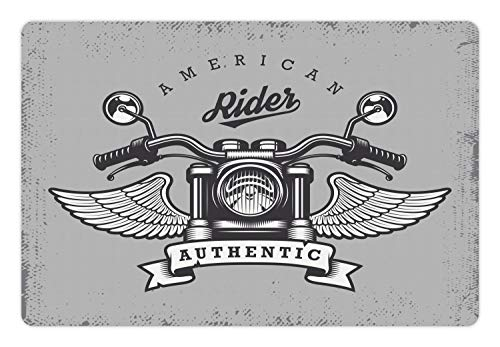 - Lunarable Route 66 Pet Mat for Food and Water, Classic Motorcycle Icon with American Rider Calligraphy Freedom Speed, Rectangle Non-Slip Rubber Mat for Dogs and Cats, Pale Grey Charcoal Grey