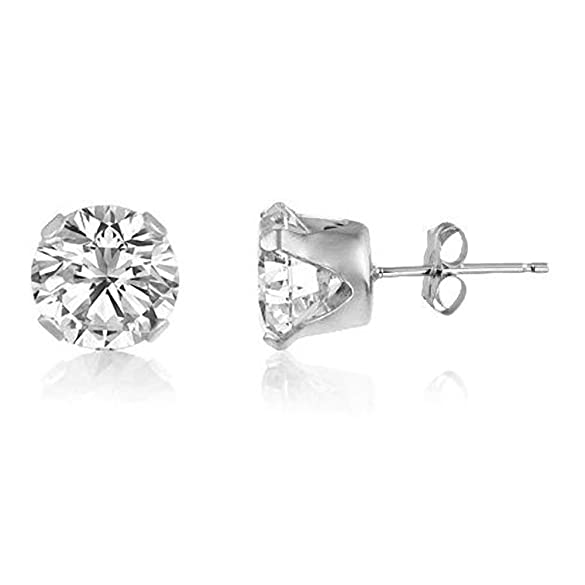 Classic Brilliant Round Cut CZ Stud Earrings / Ear Studs - DIAMOND WHITE/CLEAR - Or Choose From 2mm to 12mm xKxm55