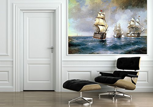 Startonight Mural Wall Art Photo Decor Aivazovsky Brig Mercury Attacked By Two Turkish Ships 1894 Medium 4-feet 2-inch By 6-feet Wall Mural for Living Room or Bedroom