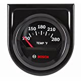 "Bosch SP0F000049 Style Line 2"" Electrical Water/Oil Temperature Gauge (Black Dial Face, Black Bezel)"