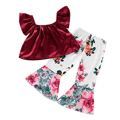 Tanhangguan 2Pcs Baby Girl Clothes Off The Shoulder Ruffles T-Shirt Top and Floral Pants Outfits Clothes Sunsuit Set