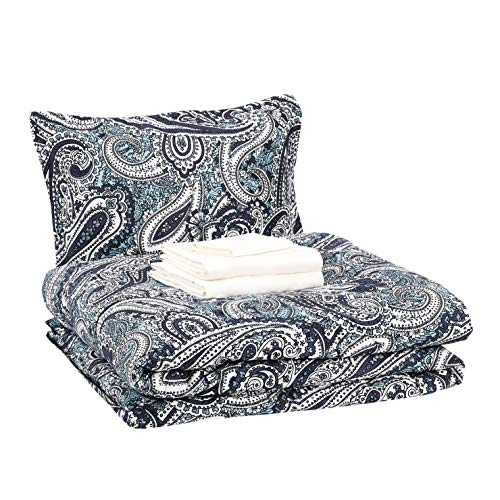 AmazonBasics Bed-in-a-Bag - Soft, Easy-Wash Microfiber - 6-Piece Twin/Twin XL, Blue Paisley