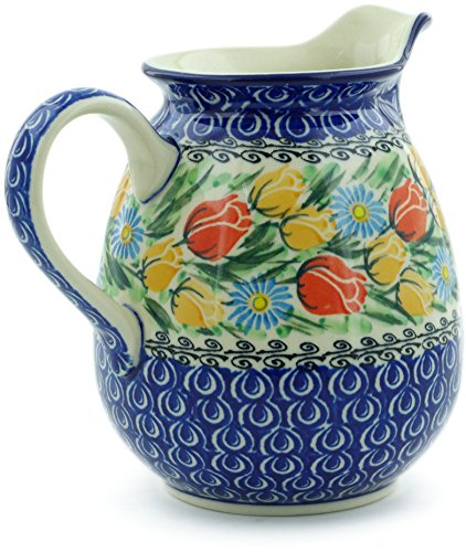 Polish Pottery 3½ cups Pitcher made by Ceramika Artystyczna (Breathtaking Tulips Theme) Signature UNIKAT + Certificate of Authenticity by Polmedia Polish Pottery (Image #2)